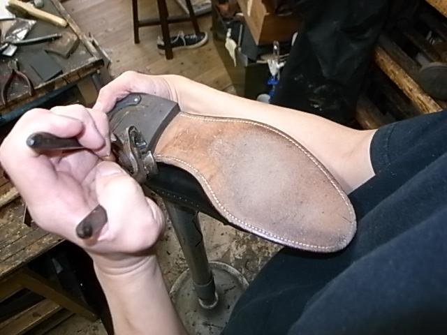 実際の靴修理